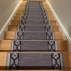RugStylesOnline Stair Treads, Slip Resistant Backing (Grey Black)