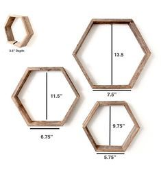 Rustic Hexagon Wood Shelves (Set of 3) | Honeycomb Shelves| Geometric Shelves| Wood Shelf- 100 Percent Reclaimed Wood, Weathered Gray