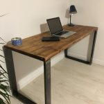 Rustic Wooden Desk Made From Reclaimed Scaffold Boards & Square Metal Frame Legs - Industrial Urban Upcycle