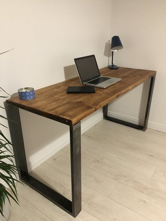 Rustic Wooden Desk Made From Reclaimed Scaffold Boards & Square Metal Frame Legs – Industrial Urban Upcycle