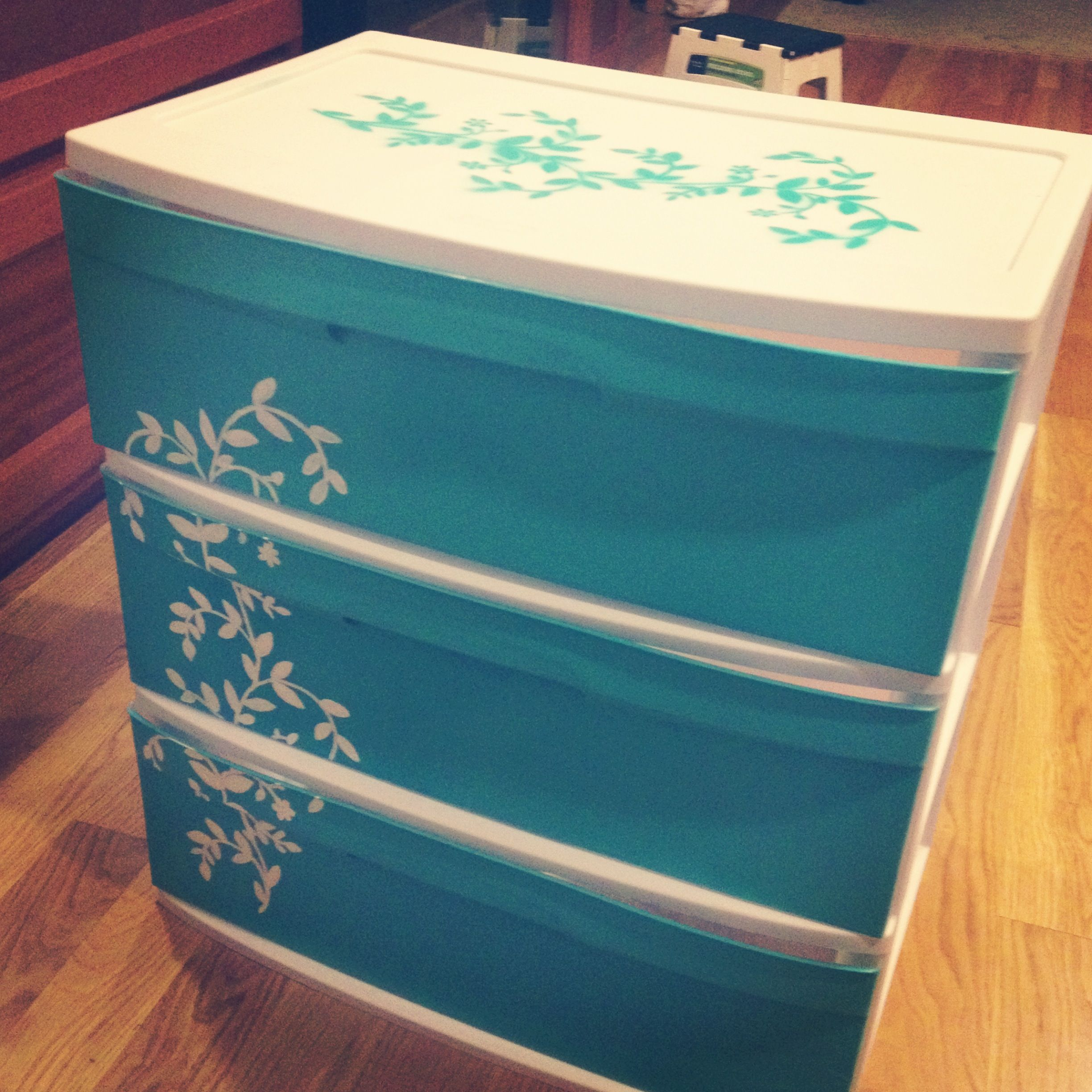 SO EASY. I decorated a 3-drawer cheap plastic storage container from Walmart. Ju…