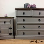SOLD Mexican Pine Bedroom Furniture Chest of Drawers and bedside table hand painted in ANNIE SLOAN French Linen Chalk Paint Upcycled