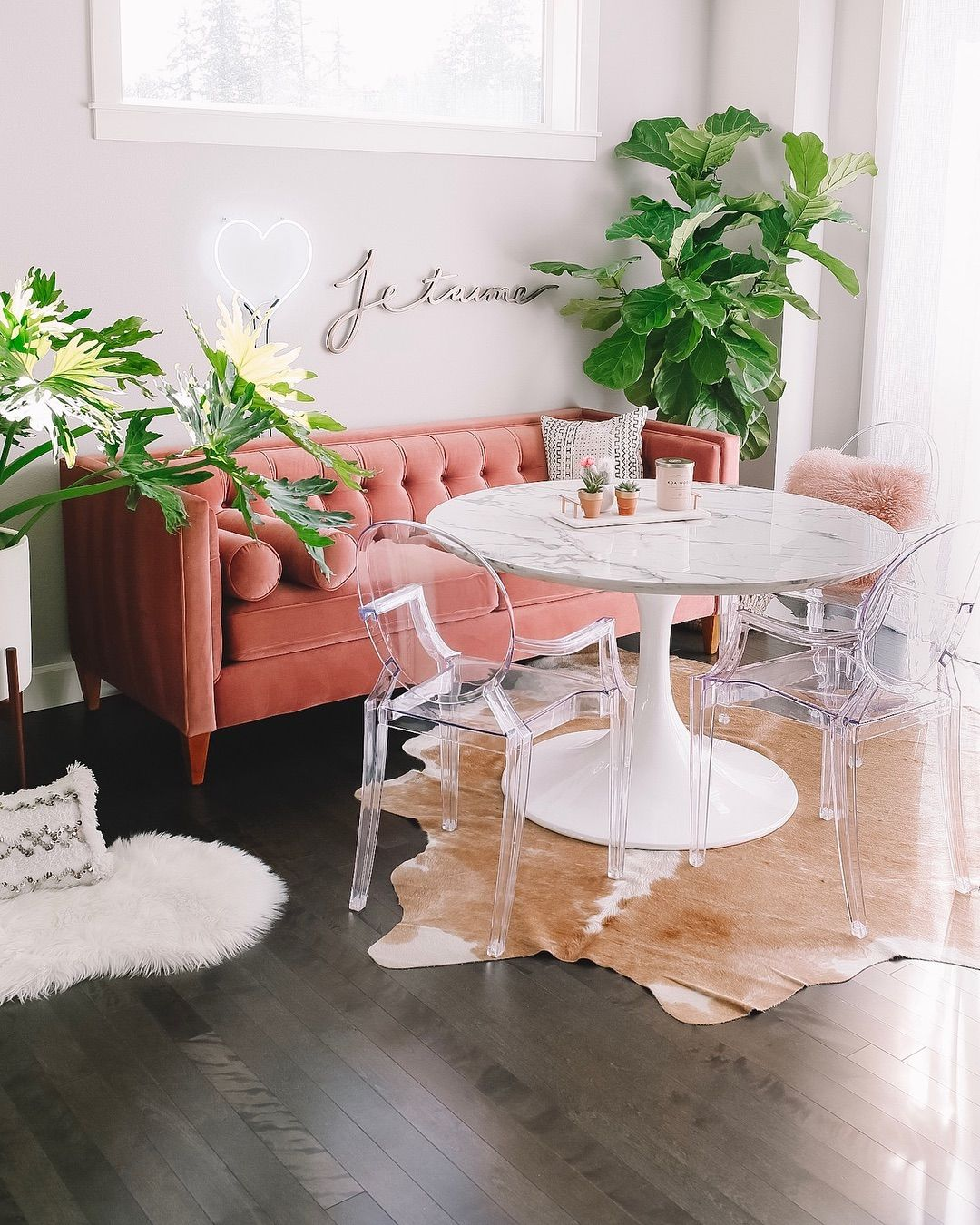 "Sabrina | Seattle Blogger on Instagram: ""For smaller space like our breakfast nook, I love the idea of using a couch or loveseat at the dining table. The acrylic chairs give the…"""