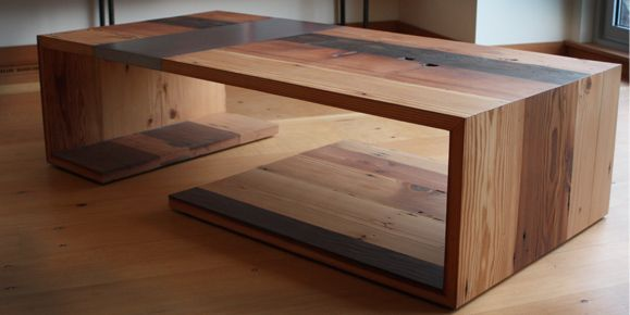 Salvaged wood and metal…great design – look at those joints!  And the darker b…