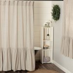 Sara's Ticking Black Ruffled Shower Curtain - Piper Classics
