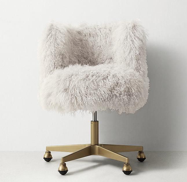 Seating – Luxurious white Mongolian fur upholstery makes it fun to get things do…