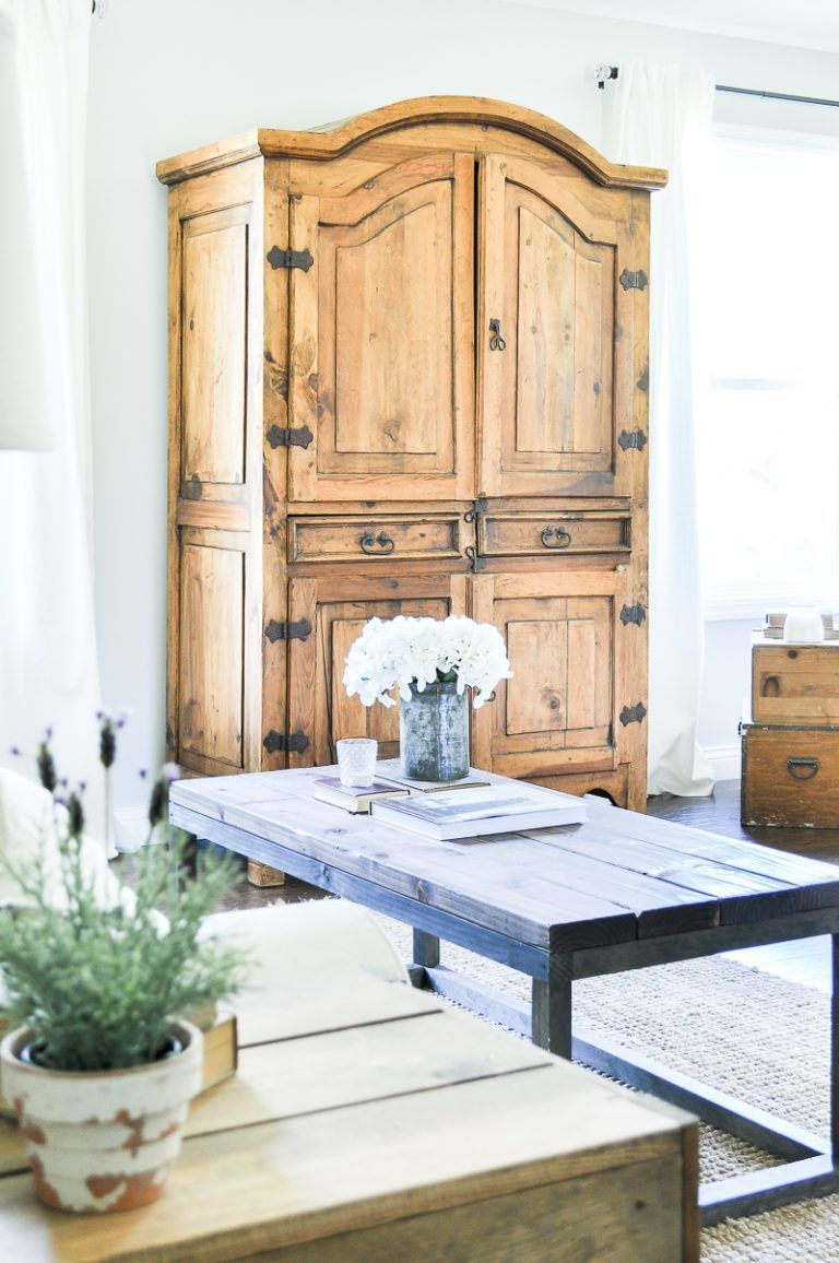 Secondhand Rustic TV Armoire – Little Glass Jar