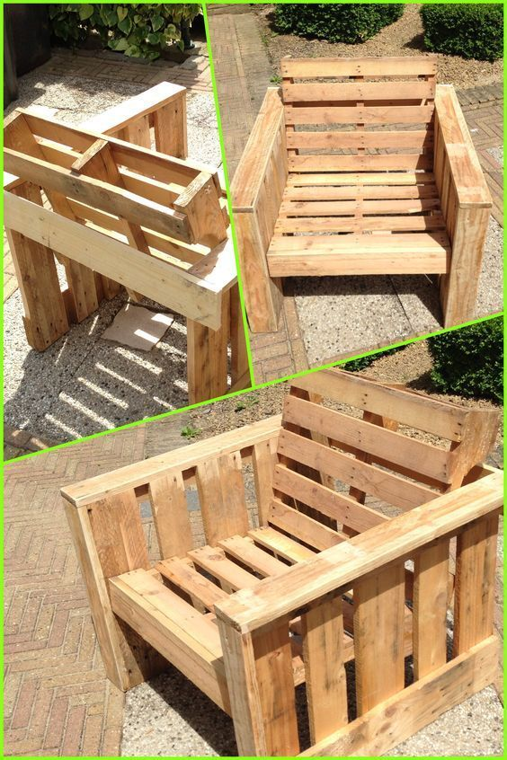 Self made chair, made completely from old pallets. Recycle upcycle reclaimed woo… – pickndecor.com/design