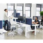 Series L Adjustable Height Double Desk for 2, Charcoal Legs | Adjustable Height Desks | Poppin