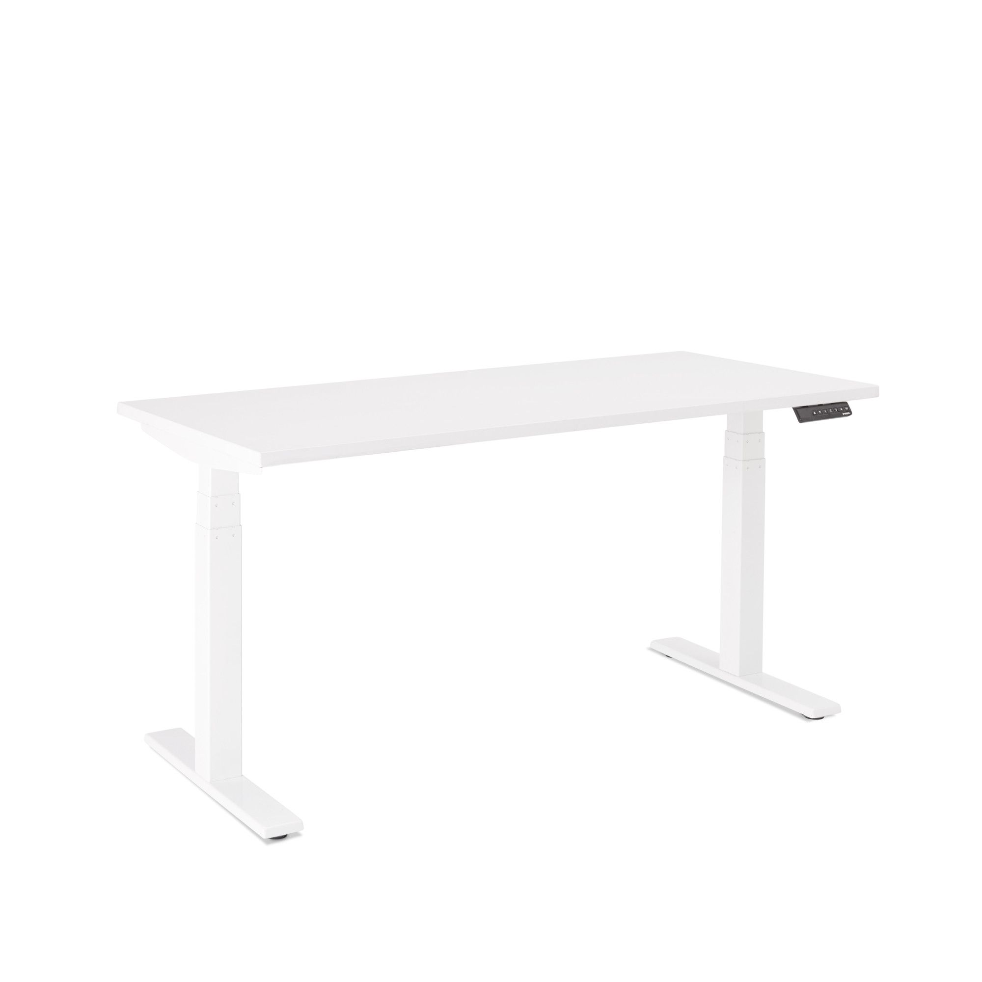 Series L Adjustable Height Single Desk, White Legs | Adjustable Height Desks | Poppin