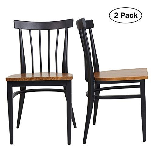 Set of 2 Dining Side Chairs – Natural Wood Seat and Sturdy Iron Frame Simple Kitchen Restaurant Chairs for Dining Room Cafe Bistro, Ergonomic Design,Comb Back