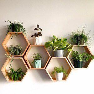 Set of 6 Medium 5.5″ Deep Hexagon Shelves, Honeycomb Shelves, Floating Shelves, Geometric Shelves