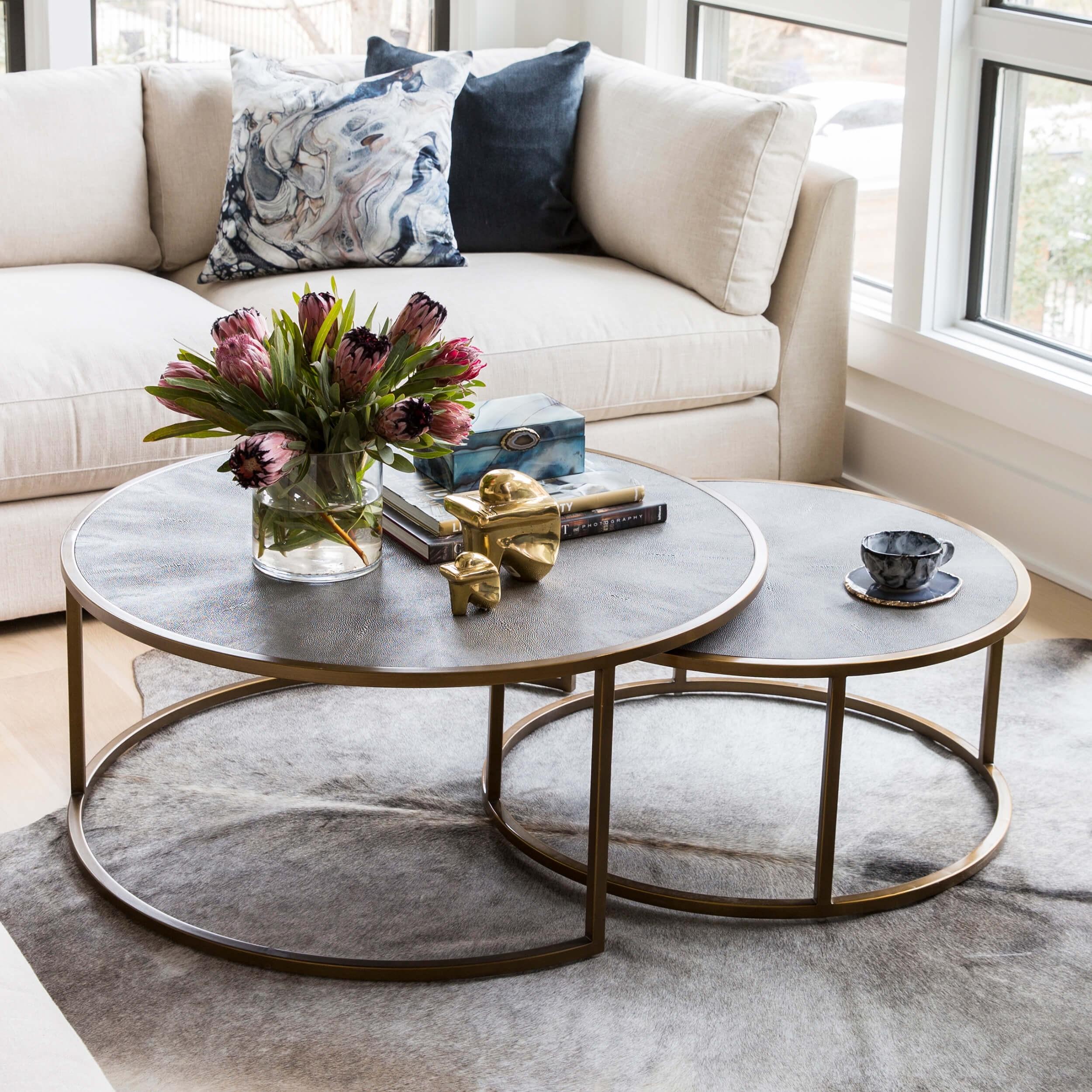 Shagreen Nesting Coffee Table, Brass
