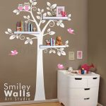 Shelf Tree Wall Decal Tree Wall Decal Shelving Tree Wall Decal Owls Children Wall Decal Nursery Decal Wall Sticker Shelves Tree Decal