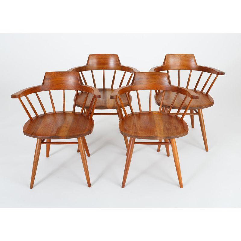 Single Black Walnut Captain's Chair by George Nakashima Studio