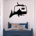Ski Lift mur Decal skieurs Stickers Snowboard Sport d'hiver-Ski Lift chaise Wall Decal - ski Sports autocollant chambre Kids montagne Decor C130