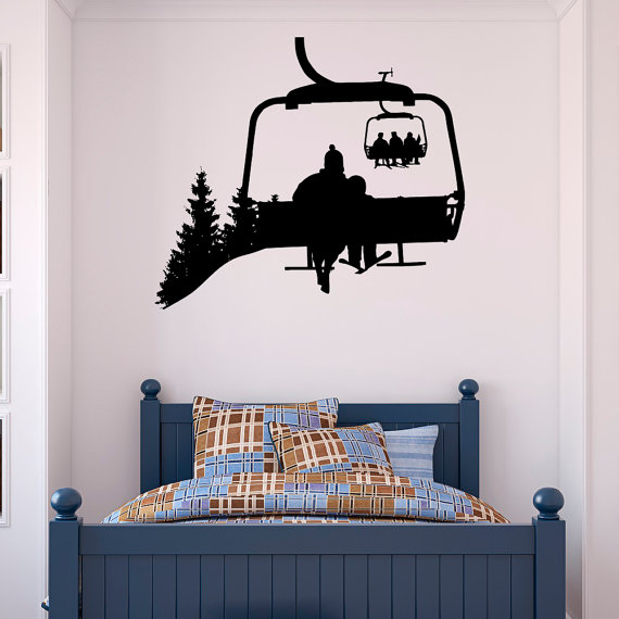 Ski Lift mur Decal skieurs Stickers Snowboard Sport d'hiver-Ski Lift chaise Wall Decal – ski Sports autocollant chambre Kids montagne Decor C130