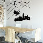 Skiing Wall Decal Skier Ski Lift Chair Mountain Pine Tree Sticker Winter Sports Decor, Sports Wall Decal, Skier Gift, Downhill Ski Sign #186