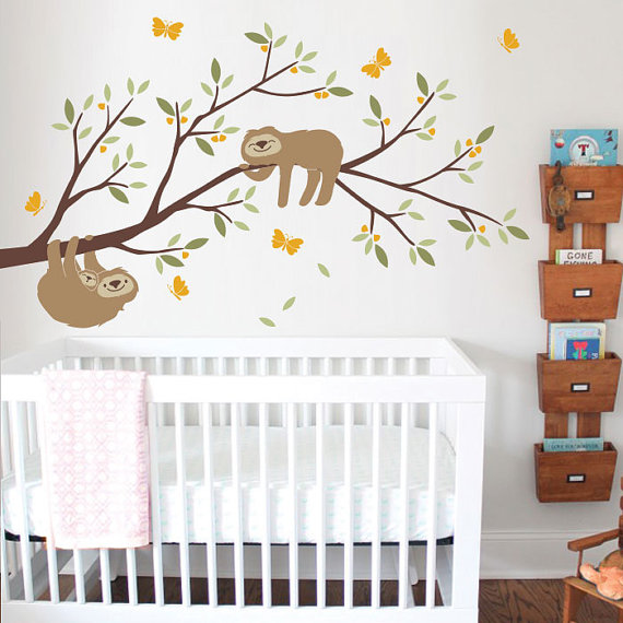 Sloth with Branch Wall Decal – Nursery Decor