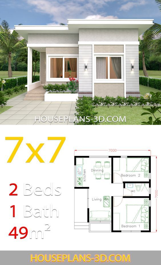 Small House Design 7×7 with 2 Bedrooms