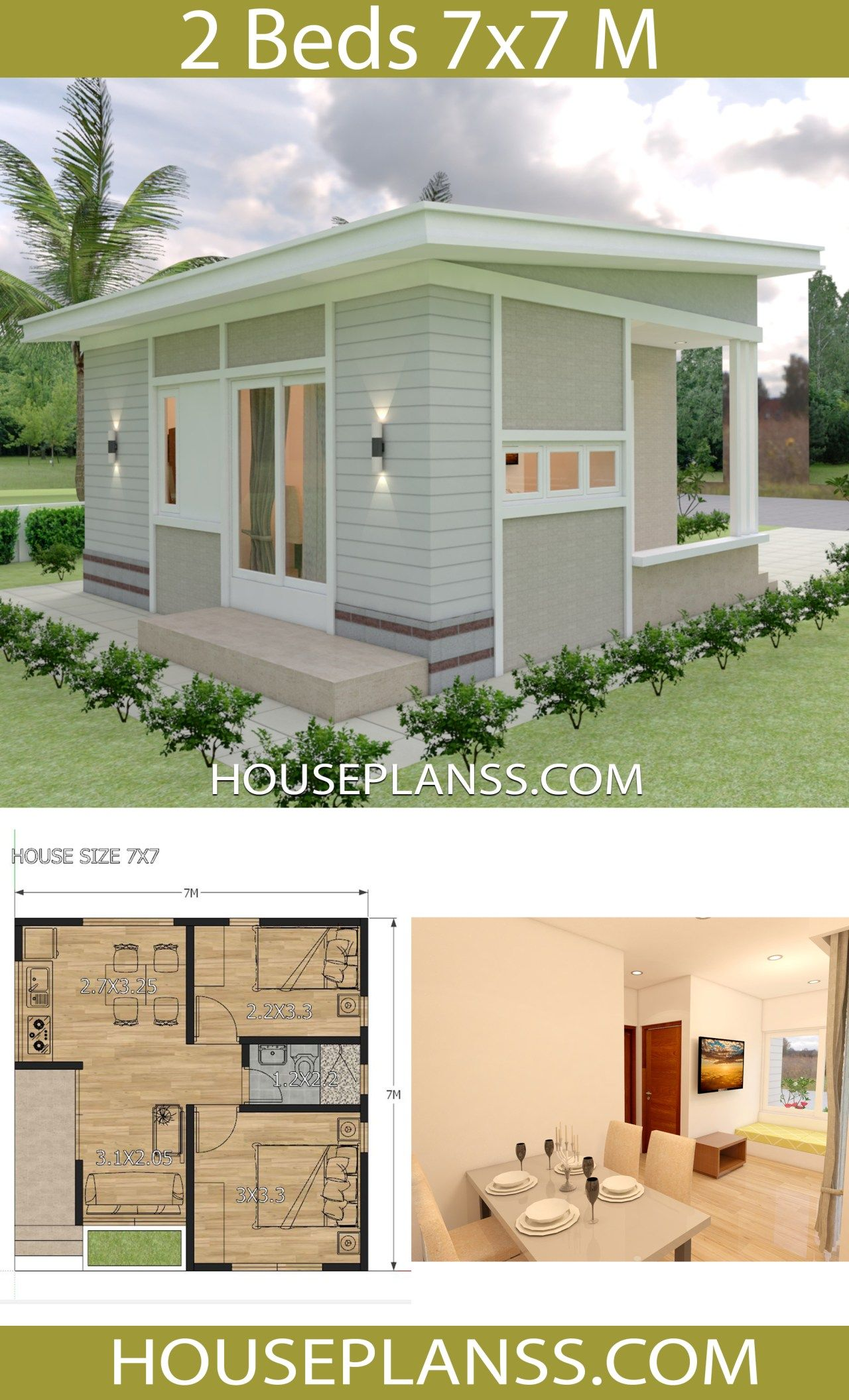 Small House Design Plans 7×7 with 2 Bedrooms – House Plans S