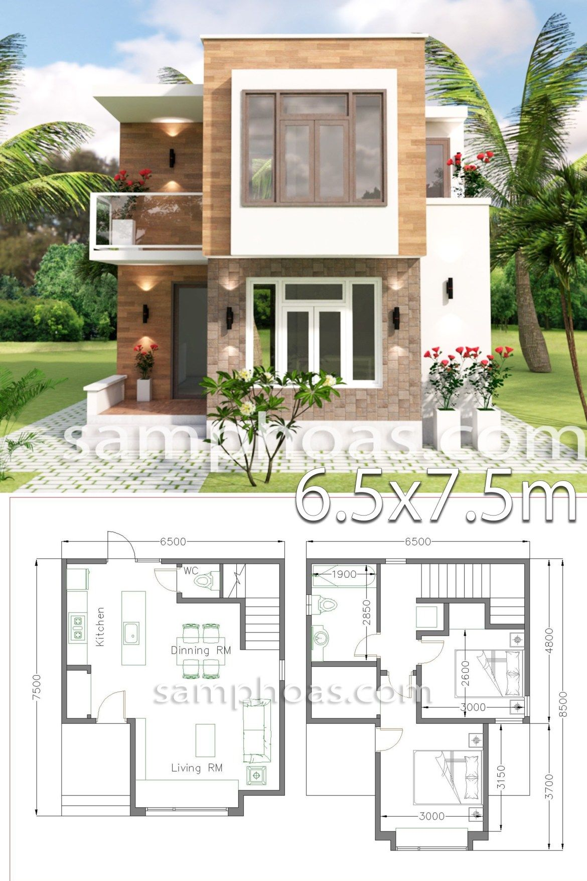 Small House Design with Full Plan 6.5×7.5m 2 Bedrooms – SamPhoas Plan
