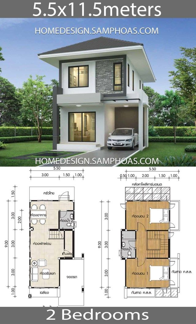 Small House design plans 5.5×11.5m with 2 bedrooms – Home Ideas