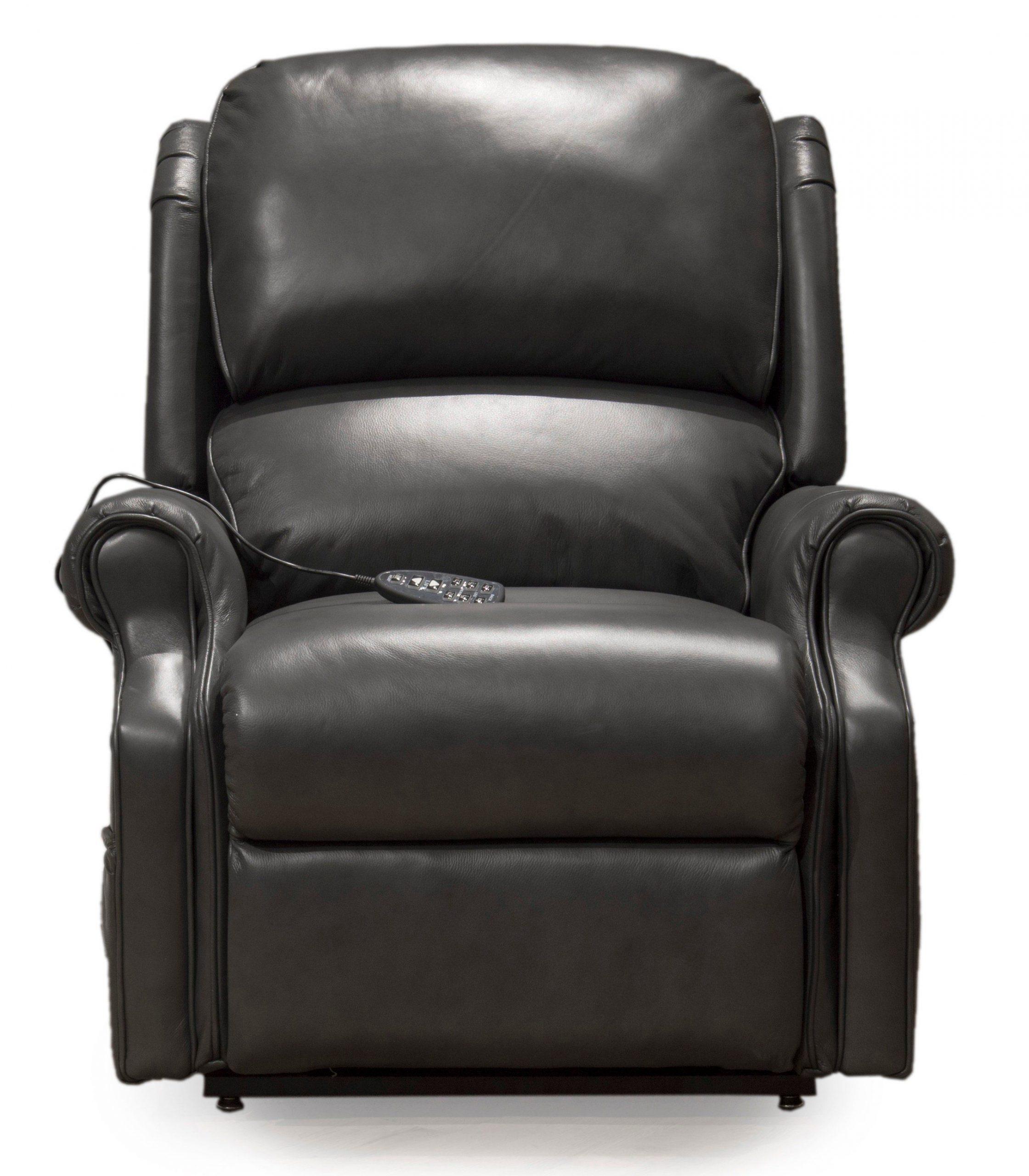 Smoke Gray Leather-Match Power Reclining Lift Chair – Palermo