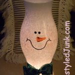 Snowman Hurricane Shade - One of the Christmas Craft Ideas - Restyled Junk