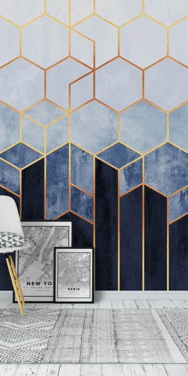 Soft Blue Hexagons Wall Mural / Wallpaper Abstract