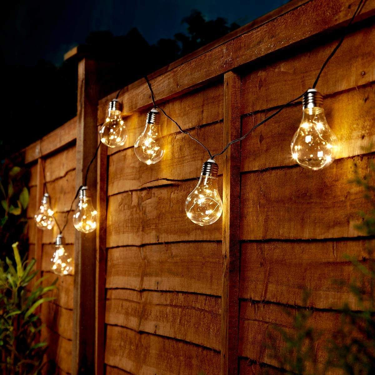 Solar Powered Festoon Fairy Lights, 50 Warm White LEDs, 10 Clear Bulbs, 3.9m