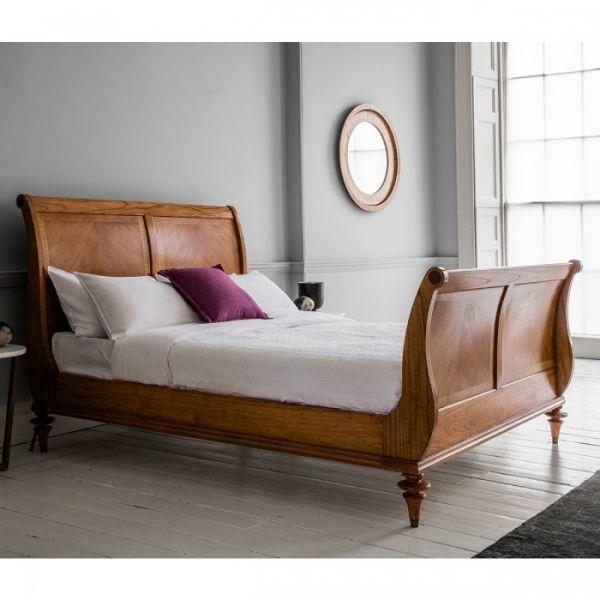 Spire High End Walnut Sleigh Bed