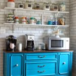 Splashing Color into Your Coffee Bar- have a mini fridge, sink, and microwave wi...