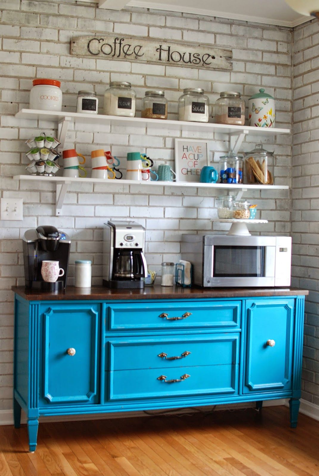 Splashing Color into Your Coffee Bar- have a mini fridge, sink, and microwave wi…