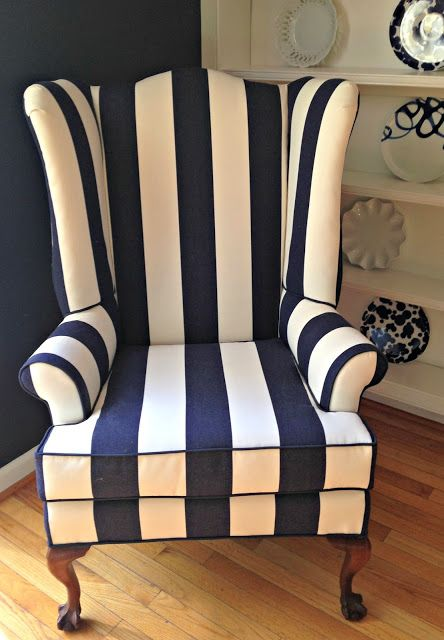 Stripe wingback chair Love this!