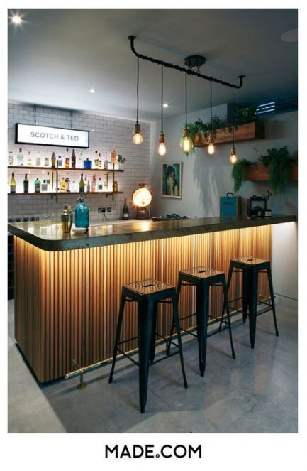 Super Home Bar Counter Design Light Fixtures 35+ Ideas