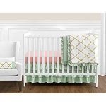 Sweet Jojo Designs 11-Piece Boutique Ava Mint Coral White and Gold Trellis Girls Baby Bedding...