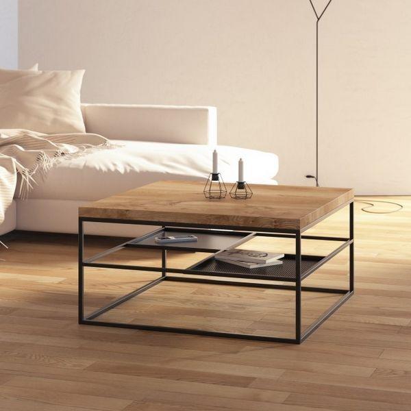 Table basse étagère Table de salon carrée bois et métal