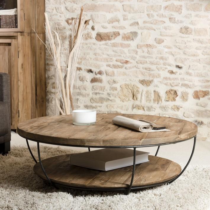 Table basse ronde en bois et son beau double plateau à vite découvrir