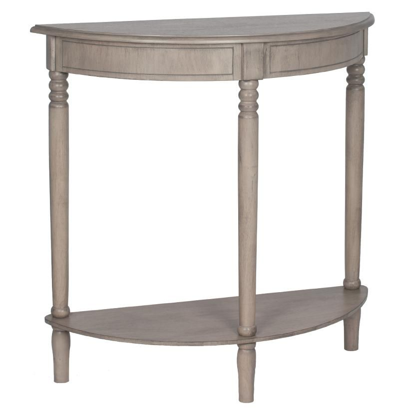 Taupe Pine Wood Half Moon Console Table