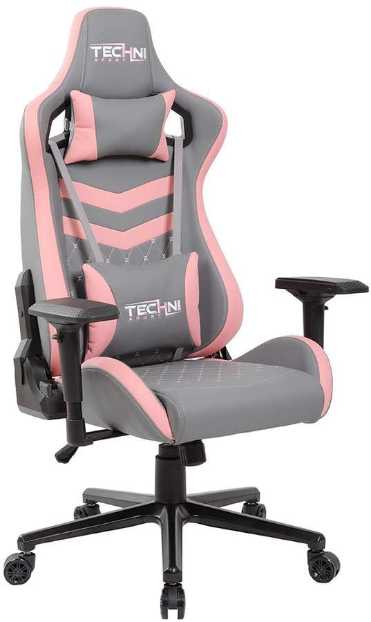 Techni Sport TS-83 Ergonomic PC Gaming Chair, Grey/White