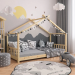 Teepee Tent Toddler Bed Frame Kids Wooden House Cabin Montessori Floor bed Child… - pickndecor.com/furniture