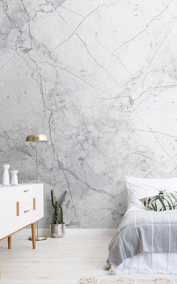 Textured White Marble Wallpaper | MuralsWallpaper
