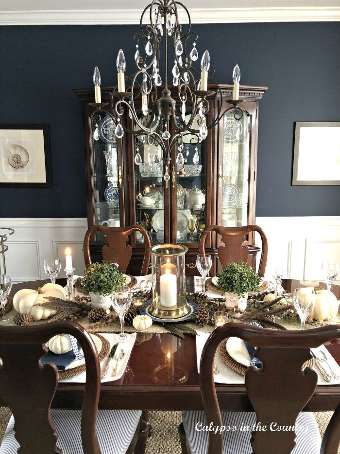 Thanksgiving Table in Navy Dining Room