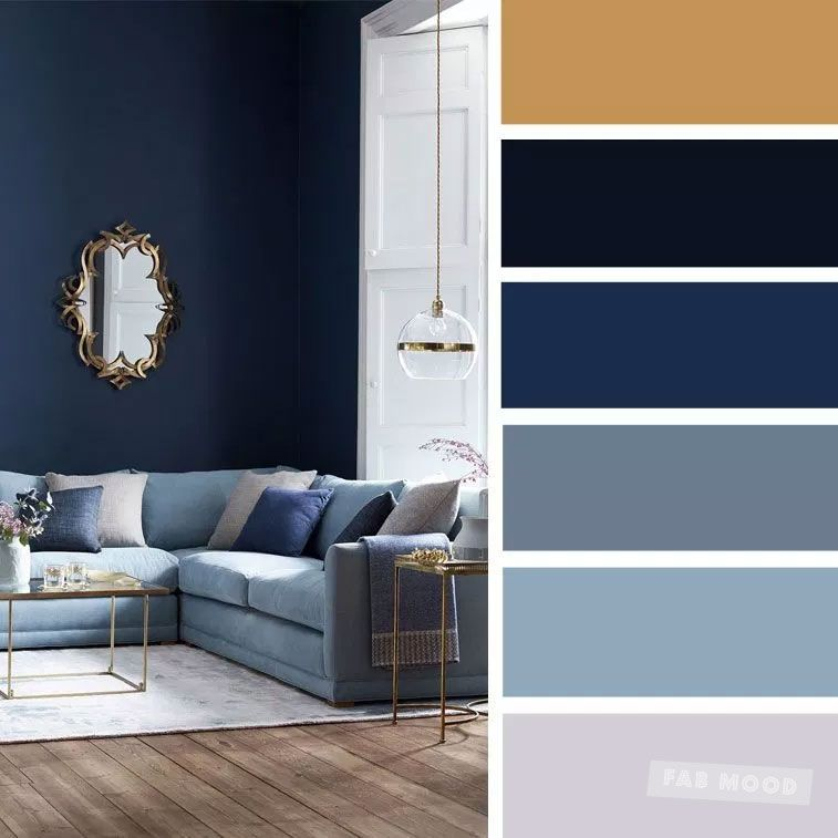 The Best Living Room Color Schemes – Gold + Gray + Blue Color Palette – Fabmood | Wedding Colors, Wedding Themes, Wedding color palettes