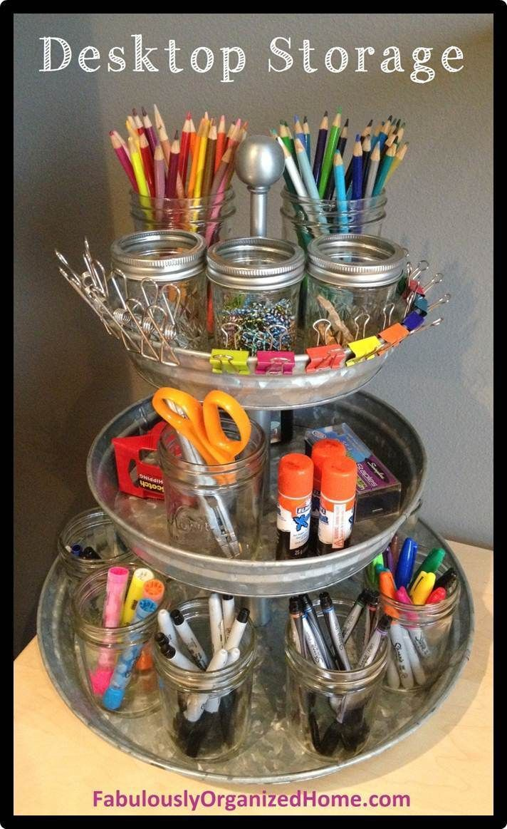 The Perfect Organizer For A Small Corner Desk- need this for my desk at school a…
