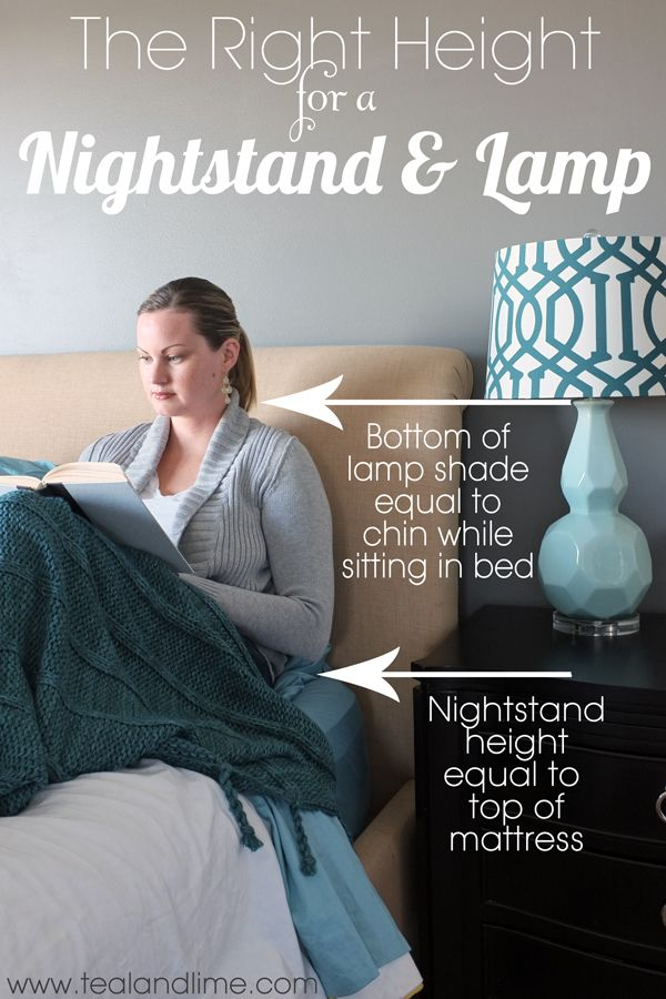The Right Height for a Nightstand and Lamp | tealandlime.com