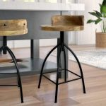 The Urban Port 26 in. Brown and Black Industrial Style Adjustable Swivel Counter Height Stool with Backrest UPT-165867 - The Home Depot