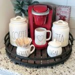 This coffee bar serving tray for a small space fits perfectly on this kitchen co... - Hannah Kuykendall Blog