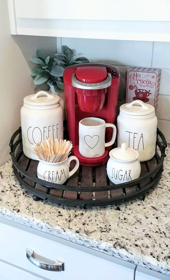 This coffee bar serving tray for a small space fits perfectly on this kitchen co… – Hannah Kuykendall Blog